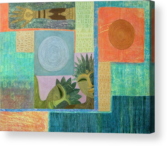 Ethnic African Abstract Sun Moon Texture Sgraffito Exotic Men And Woman Acrylic Print featuring the painting Union Of The Sun And Moon by Jennifer Baird