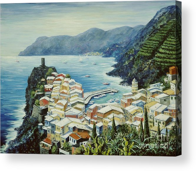 Vernazza Acrylic Print featuring the painting Vernazza Cinque Terre Italy by Marilyn Dunlap