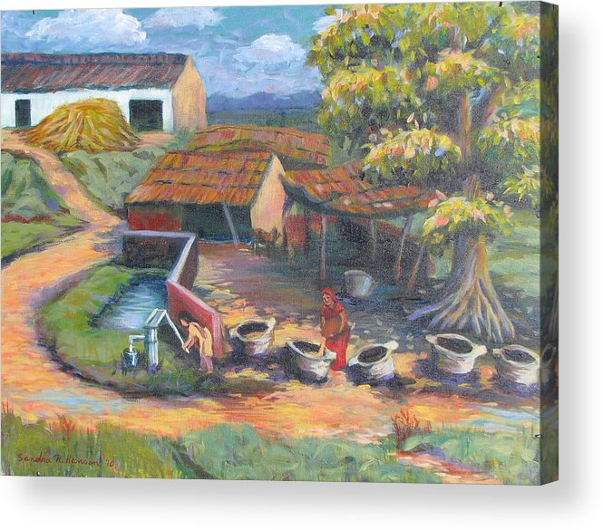 Art Nomad Acrylic Print featuring the painting Village Stables by Art Nomad Sandra Hansen