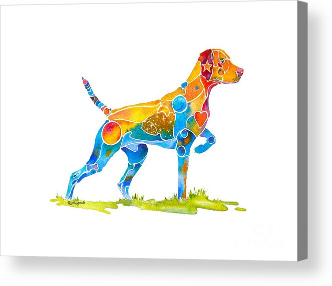 Vizsla Acrylic Print featuring the painting Vizsla On Point by Jo Lynch
