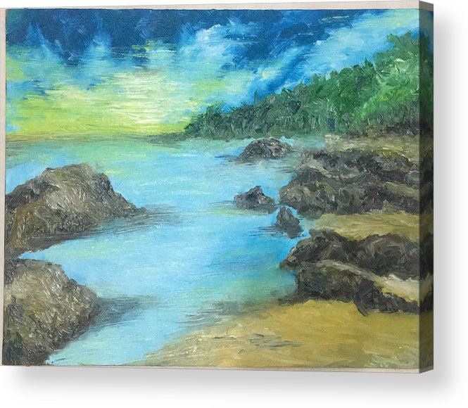 Seasides Acrylic Print featuring the painting Waiting by Yong Chee lik