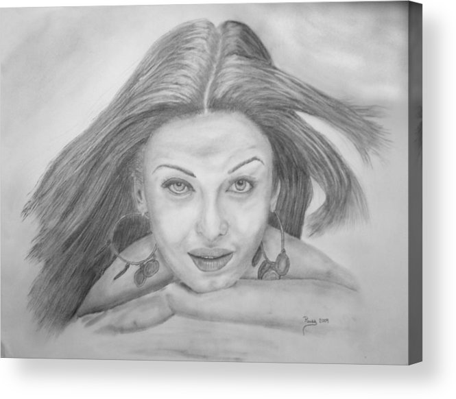 Charcoal Drawing Acrylic Print featuring the drawing Wanting Eyes by Russ Smith
