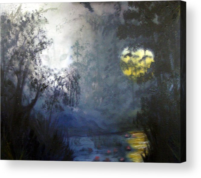 Swamp Acrylic Print featuring the painting Where Are We To Go by Darlene Green