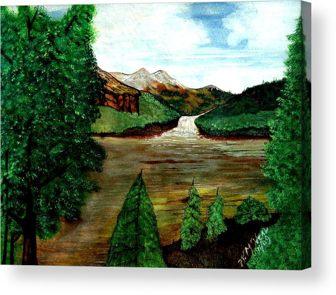 Water Acrylic Print featuring the painting Where Water Meets by Willie McNeal