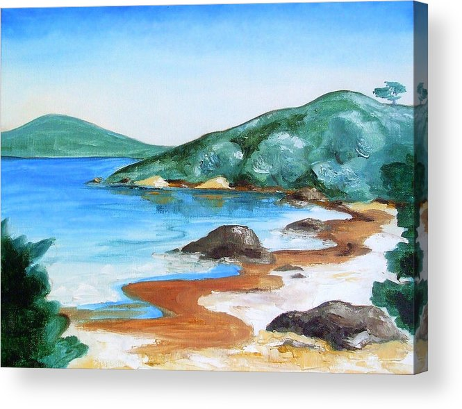 Oil Painting Acrylic Print featuring the painting Woolleys Bay New Zealand Northland by Jane Bold