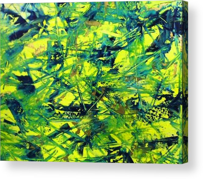 Abstract Acrylic Print featuring the painting Yellow And Green by Guillermo Mason