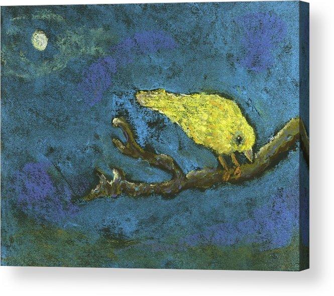 Bird Moon Pastel Yellow Blue Hillaryart Acrylic Print featuring the pastel Yellow Bird And Moon by Hillary McAllister