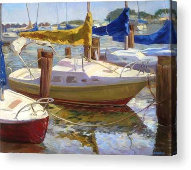 Plein Air Acrylic Print featuring the painting Yellow Sails by Joan DaGradi