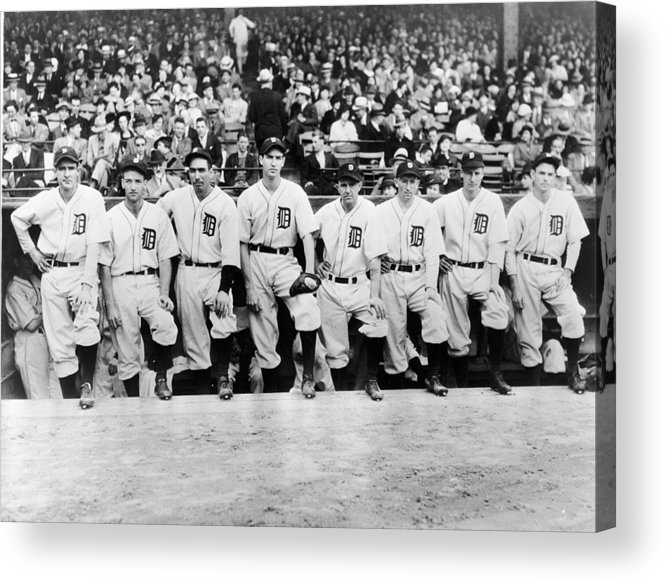 People Acrylic Print featuring the photograph Detroit Tigers 1935 Pitching Staff At by Fpg