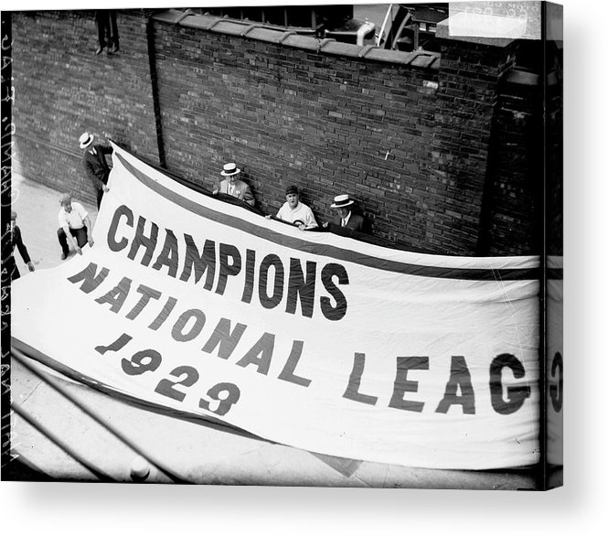 People Acrylic Print featuring the photograph Flag Commemorating The Chicago Cubs by Chicago History Museum