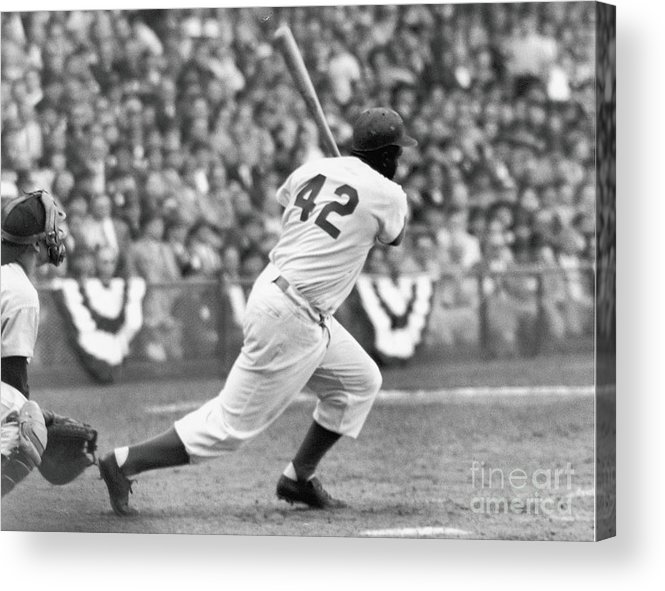 Sports Helmet Acrylic Print featuring the photograph Jackie Robinson At Bat by Robert Riger