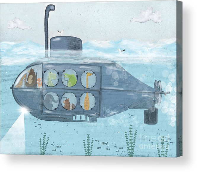 Nursery Art Acrylic Print featuring the painting Nautical Explorers by Bri Buckley