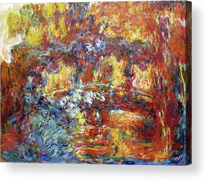 Claude Monet Acrylic Print featuring the painting The Japanese Bridge, 1922 - Digital Remastered Edition by Claude Monet