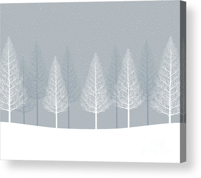 Illustrations Acrylic Print featuring the digital art Winter Landscape. Forest by Alphabe