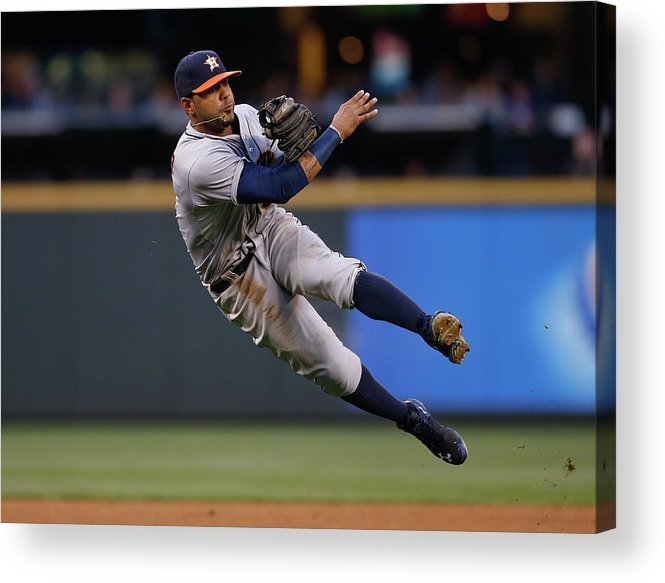 American League Baseball Acrylic Print featuring the photograph James Jones And Jonathan Villar by Otto Greule Jr