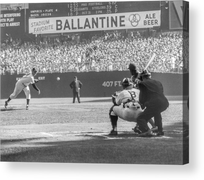 Baseball Catcher Acrylic Print featuring the photograph Jim Gilliam And Yogi Berra by The Stanley Weston Archive