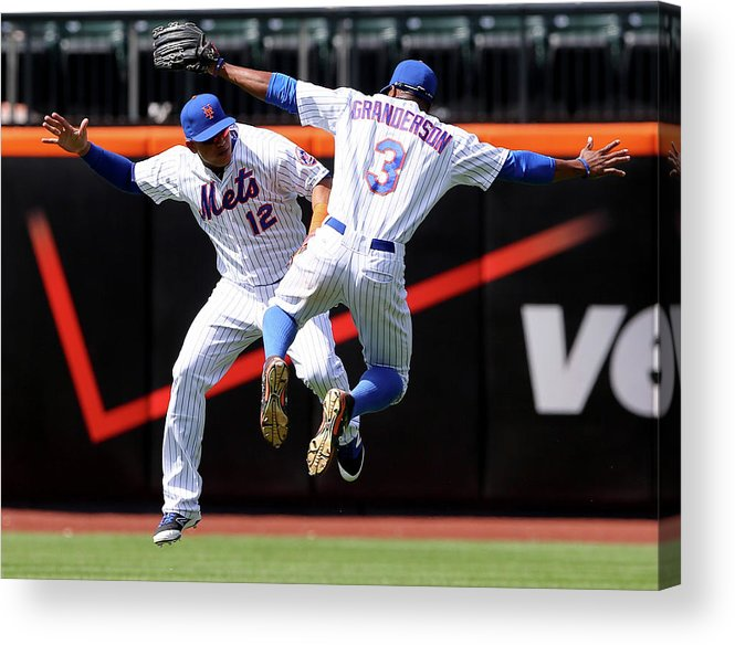 People Acrylic Print featuring the photograph Juan Lagares And Curtis Granderson by Elsa