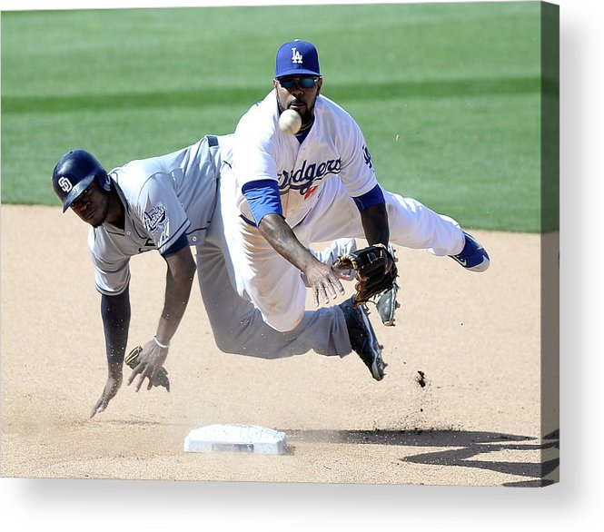 Double Play Acrylic Print featuring the photograph Justin Upton And Howie Kendrick by Harry How