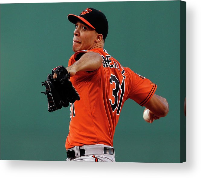American League Baseball Acrylic Print featuring the photograph Ubaldo Jimenez by Jim Rogash