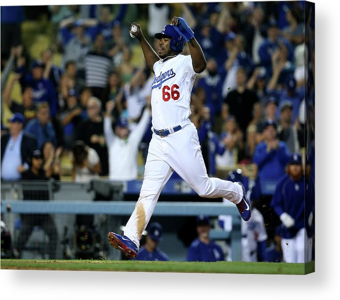 Ninth Inning Acrylic Print featuring the photograph Yasiel Puig And Howie Kendrick by Stephen Dunn