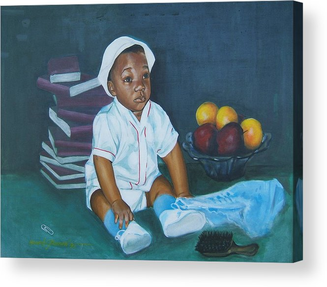 Child Acrylic Print featuring the painting Books And Fruit by Howard Stroman