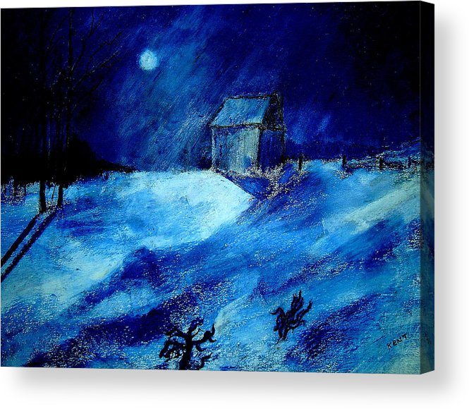 Landscape Acrylic Print featuring the painting Winter Moon by Kent Whitaker