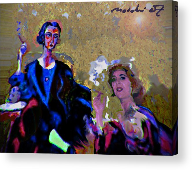 Human Composition Acrylic Print featuring the painting Between Us Gal by Noredin Morgan