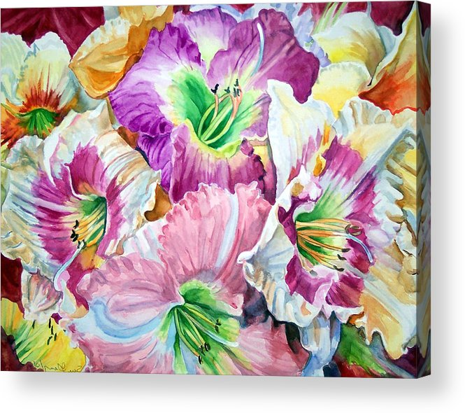 Flowers Acrylic Print featuring the print Daylilliesll by Bette Gray