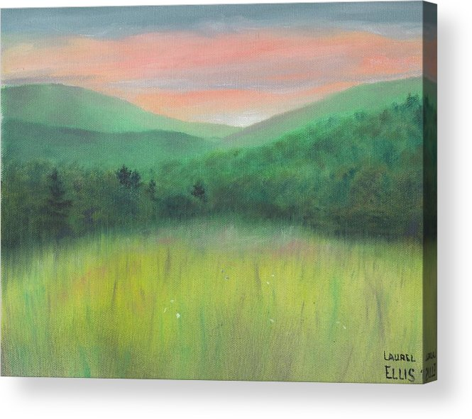 Landscape Acrylic Print featuring the painting Forgotten Meadow by Laurel Ellis