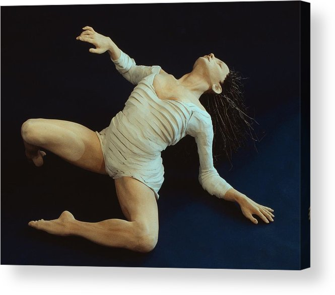 Dance Acrylic Print featuring the sculpture White Dancer Left View by Gordon Becker