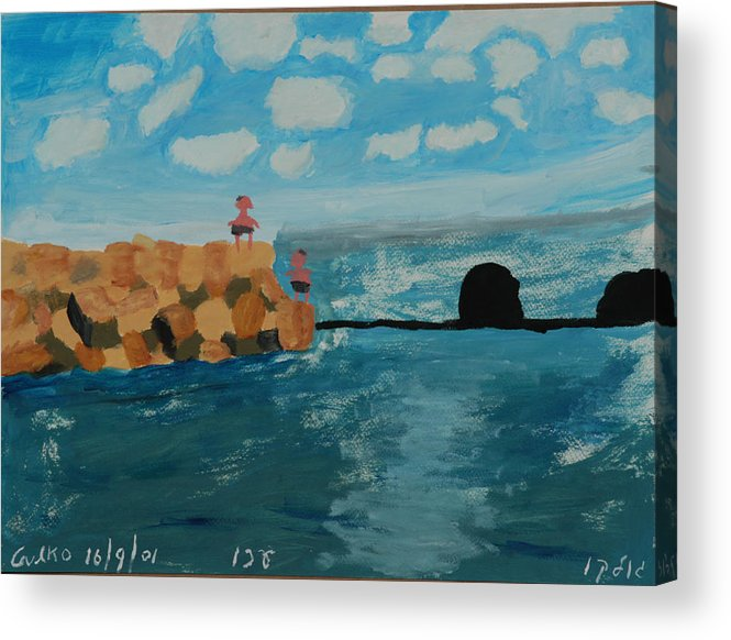 Water Acrylic Print featuring the painting Young Divers by Harris Gulko