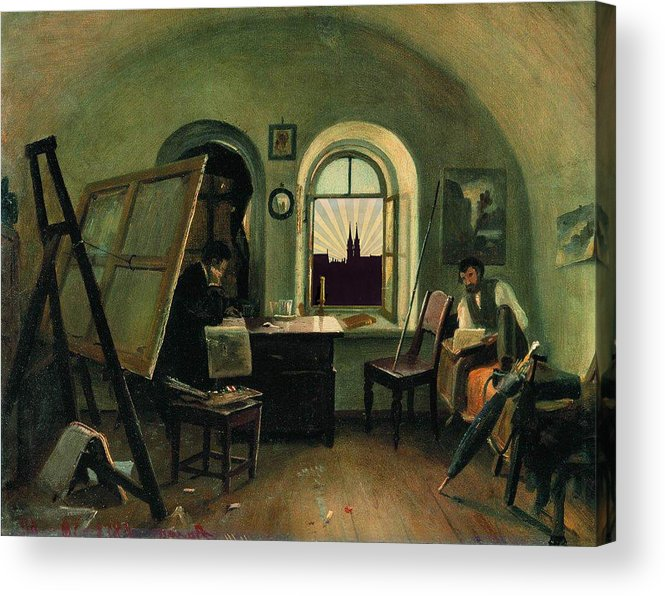 Classic Art With A Change Acrylic Print featuring the digital art In The Studio On The Island Of Valaam by Ivan Shishkin