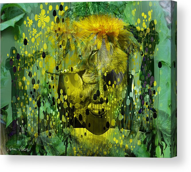 Dandelion Acrylic Print featuring the digital art Attacking The Dande-lion by Sabine Stetson