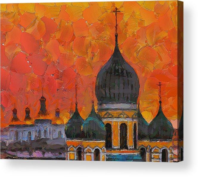 Church Acrylic Print featuring the digital art Church Sunset by Yury Malkov