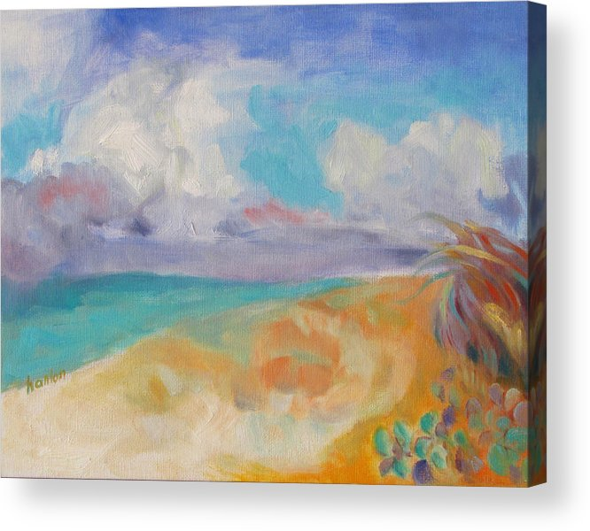 Beach Acrylic Print featuring the painting Collapsed Sand Castle by Susan Hanlon