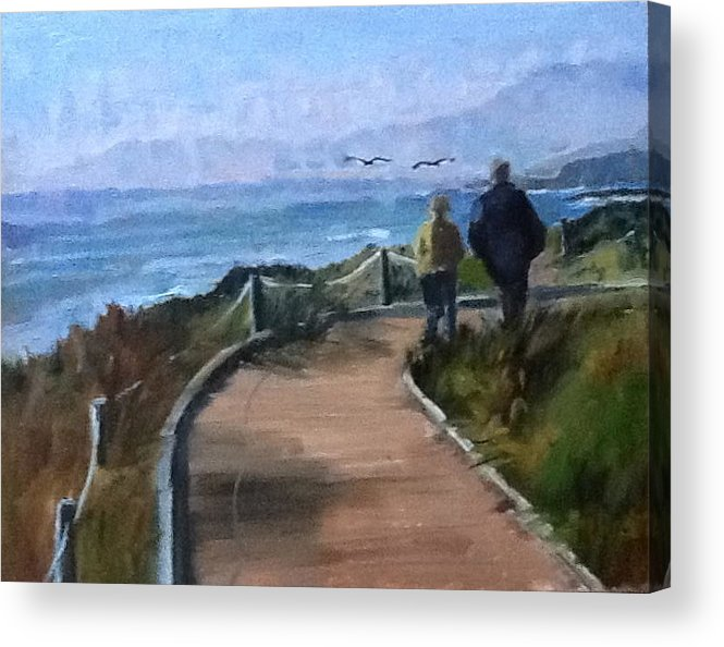 Sea Acrylic Print featuring the painting Love Birds by MaryAnne Ardito