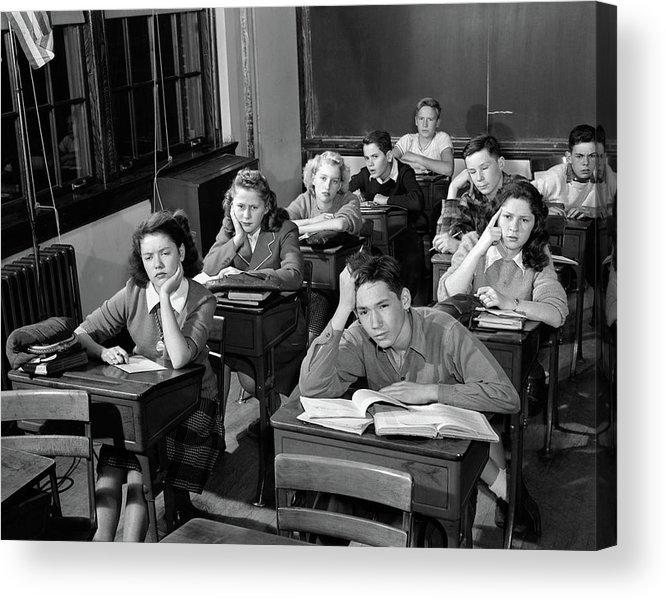 1940s 1950s High School Classroom Acrylic Print