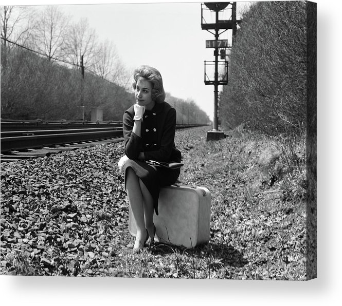 Photography Acrylic Print featuring the photograph 1950s 1960s Woman Sad Worried Facial by Vintage Images