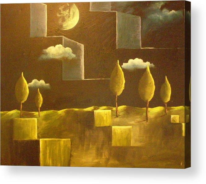 Surrealism Acrylic Print featuring the painting another World by Birgit Schnapp