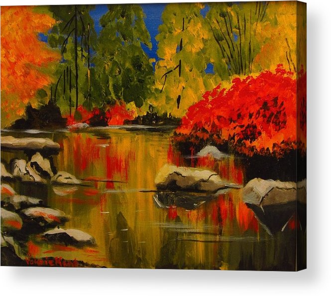 Landscape Acrylic Print featuring the painting Autumn Flames by Valerie Kent