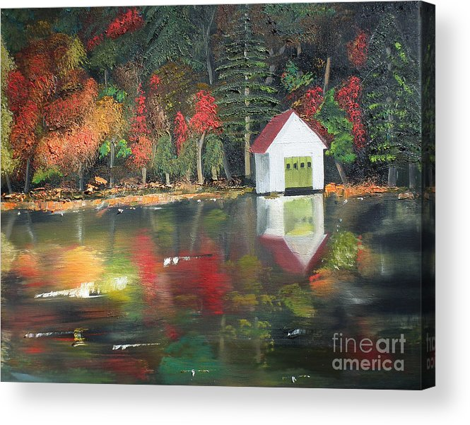 Happy Little Trees Acrylic Print featuring the painting Autumn - Lake - Reflecton by Jan Dappen