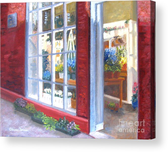 Boston Acrylic Print featuring the painting Beacon Hill Flower Shop by Claire Norris