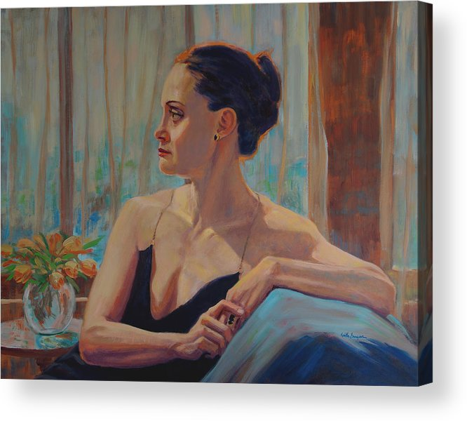 Portrait Acrylic Print featuring the painting Before The Ballet by Keith Burgess
