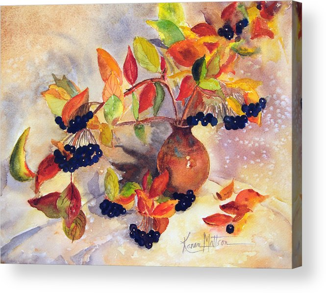 Berry Harvest Acrylic Print featuring the painting Berry Harvest Still Life by Karen Mattson