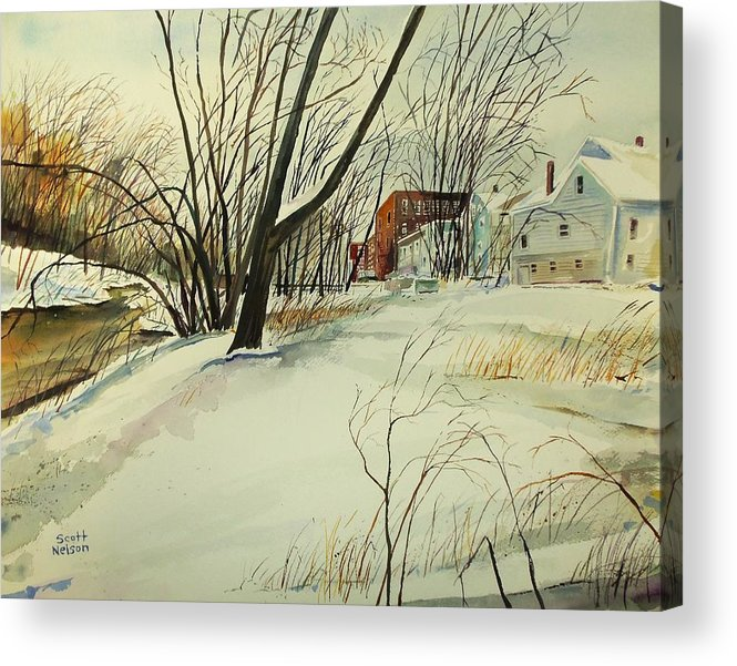 Watercolor Acrylic Print featuring the painting Blackstone River Snow by Scott Nelson