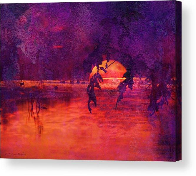 J Larry Walker Acrylic Print featuring the digital art Bleeding Sunrise Abstract by J Larry Walker