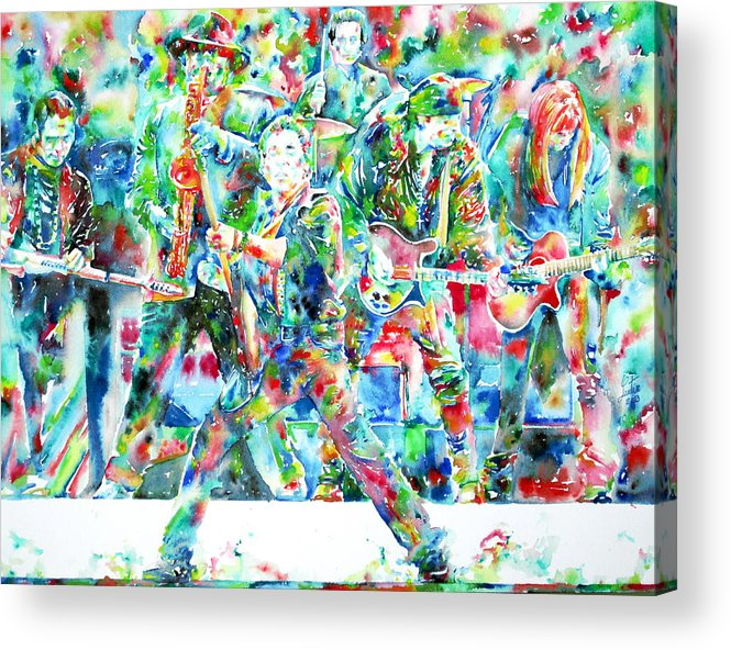Bruce Acrylic Print featuring the painting Bruce Springsteen And The E Street Band - Watercolor Portrait by Fabrizio Cassetta