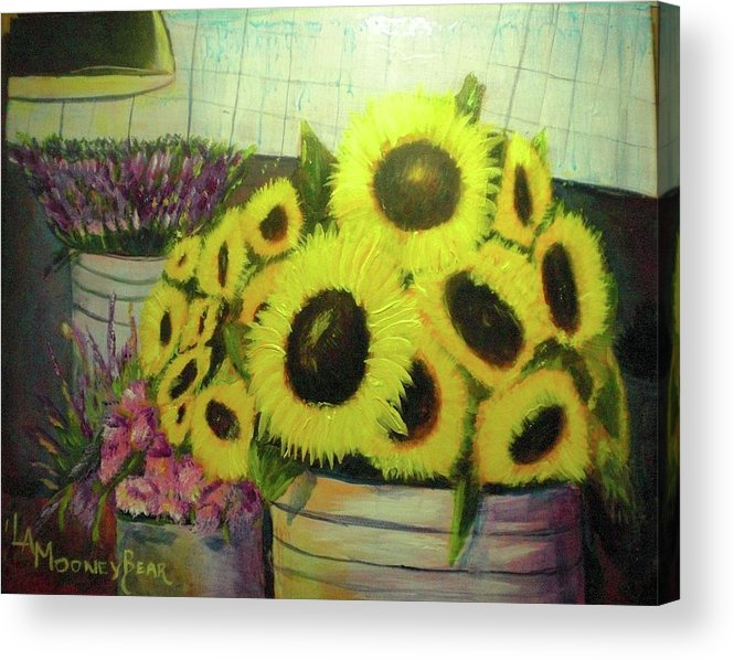 Flowers Acrylic Print featuring the painting Bucket Of Sunflowers by Lauren Mooney Bear
