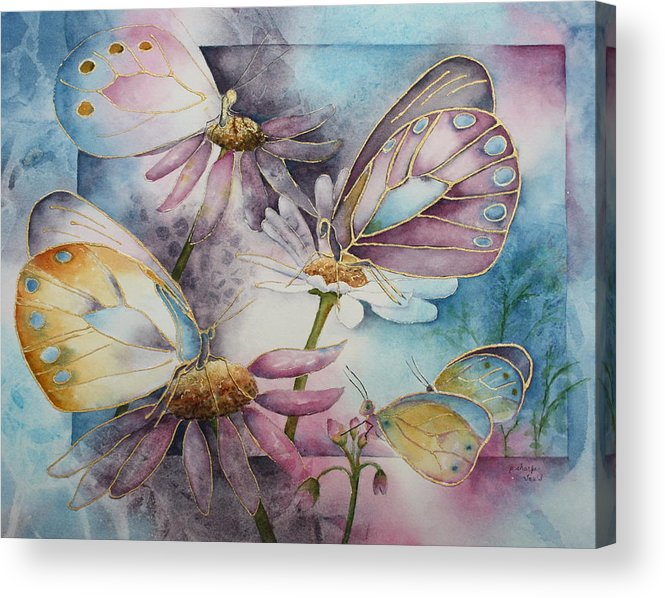 Butterflies Acrylic Print featuring the painting Butterfly Garden by Patsy Sharpe