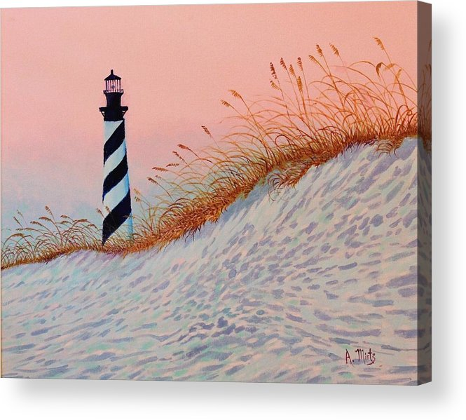 Lighthouse Acrylic Print featuring the painting Cape Hatteras Sunrise by Alan Mintz